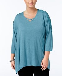 Styleandco. Style Co. Plus Size Crocheted Bridge Hem Top Only At Macy's Green Nectar