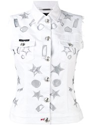 Philipp Plein Star Detail Gilet Women Cotton Spandex Elastane L White