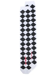 Off White Shiny Check Socks Unisex Cotton Nylon Polyester Spandex Elastane One Size White