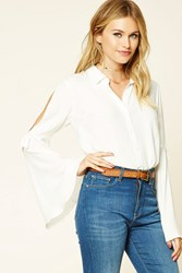 Forever 21 Contemporary Bell Sleeve Shirt Cream