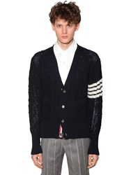 Thom Browne Mohair And Wool Cable Knit Cardigan Navy
