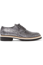 Mcq By Alexander Mcqueen Glittered Leather Brogues Gunmetal