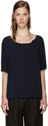 Raquel Allegra Blue Frayed Blouse