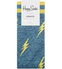 Happy Socks Athletic Cotton Blend Teal Yellow