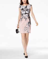 Connected Petite Belted Sheath Dress Pink Multi