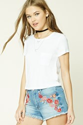 Forever 21 Floral Embroidered Denim Shorts