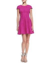 Yoana Baraschi Cap Sleeve Pleated Fit And Flare Dress Passion Pink