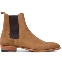 Saint Laurent Suede Chelsea Boots Tan