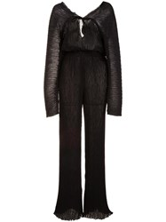 Barbara Casasola Ribbed Sheer Jumpsuit Black