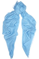 Tomas Maier Cotton And Linen Blend Scarf Blue