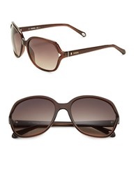 Fossil 58Mm Round Sunglasses Brown
