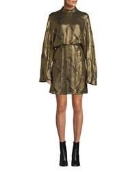 Sally Lapointe Mock Neck Long Sleeve Stitched Sequins Mini Dress Gold