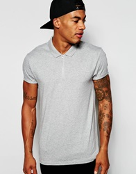Asos Polo With Zip Neck And Roll Sleeve Grey