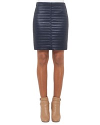 Akris Quilted Napa Leather Skirt Blue Jay Bluejay