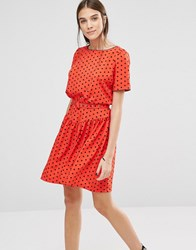 Trollied Dolly Polka Dot Print Drop Dead Gorgeous Dress Red