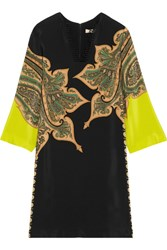 Etro Paisley Print Silk Crepe De Chine Dress Black
