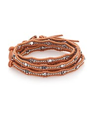 Chan Luu Crystal And Leather Multi Row Beaded Wrap Bracelet Silver Natural