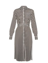 Altuzarra Dane Striped Crepe De Chine Dress Black White