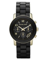 Michael Kors Runway Goldtone Stainless Steel And Rubber Bracelet Watch No Color