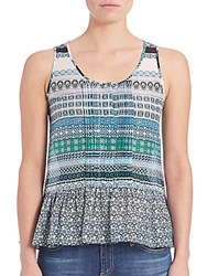 Diane Von Furstenberg Kenna Cotton And Silk Peplum Top Blue Multi