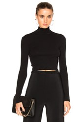Rosetta Getty Cropped Long Sleeve Turtleneck T Shirt In Black