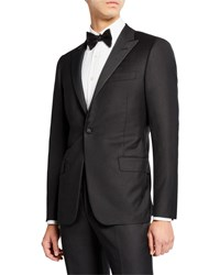 Hickey Freeman Peak Lapel Solid Tuxedo Suit Black Solid