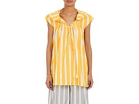Thierry Colson Women's Striped Cotton Poplin Caftan Yellow
