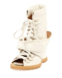 Chloe Lace Up Wedge Bootie Sandal White