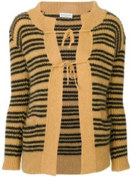 Sonia Rykiel Stripe Knitted Cardigan Polyamide Mohair Wool Xs Yellow Orange