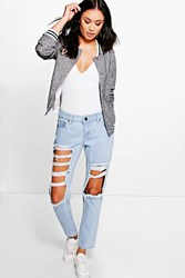 Boohoo Low Rise Light Wash Distressed Boyfriend Jeans Blue