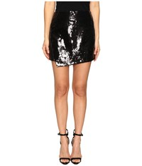 Lamarque Wakana Leather And Sequin Skirt Black