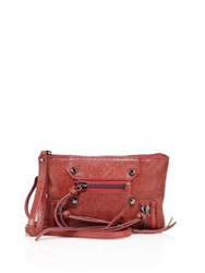 Botkier Leather Zipper Accent Crossbody Bag Chili