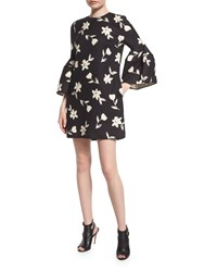 Carolina Herrera Bell Sleeve Garden Party Dress Black Green White Women's