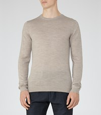 Reiss Hart Mens Merino Crew Neck Jumper In Brown