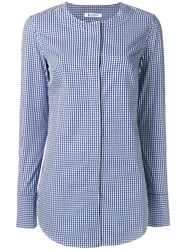 Dondup Checked Collarless Shirt Blue