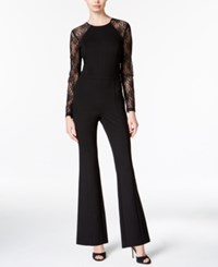 Bar Iii Flared Lace Contrast Jumpsuit Only At Macy's Deep Black