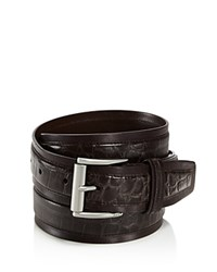 John Varvatos Star Usa Croc Embossed Leather Belt Chocolate
