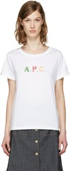 A.P.C. White Logo Couleurs T Shirt