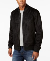 Sean John Men's Black Faux Suede Bomber Jacket
