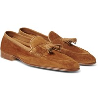 Edward Green Portland Leather Trimmed Suede Tasselled Loafers Brown