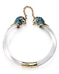 Alexis Bittar Lucite Chained Parrot Hinge Cuff Clear Blue