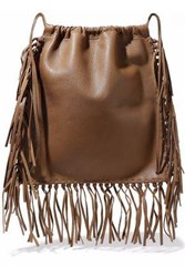 Valentino Fringed Textured Leather Backpack Light Brown