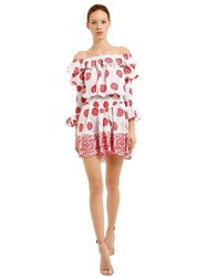 Cc By Camilla Cappelli Off The Shoulder Embroidered Mini Dress White Red