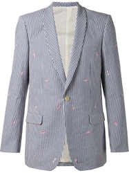 Julien David Striped Embroidered Jacket Blue