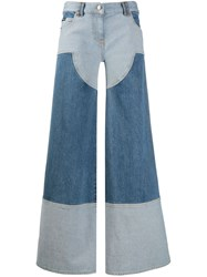 Palm Angels Wide Leg Cargo Jeans Blue