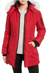 Halifax Women's Genuine Fox Fur Trim Parka Red