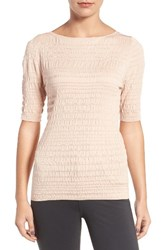 Emerson Rose Women's Silk And Cotton Smocked Stripe Sweater Pink Dust