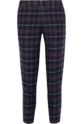 Thakoon Plaid Cotton Blend Flannel Tapered Pants Blue