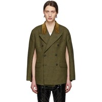 Maison Martin Margiela Green Check Wool Cape Blazer