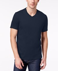 Club Room Men's Solid V Neck T Shirt Created For Macy's Navy Blue